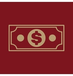 The money icon Dollar symbol Flat vector