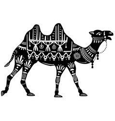 The stylized figure of decorative camel vector