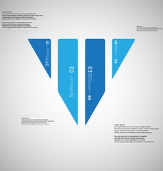 triangle template consists four blue parts on vector image