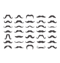 varieties retro mustache set black imperial vector image