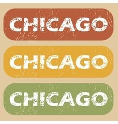Vintage Chicago stamp set vector image