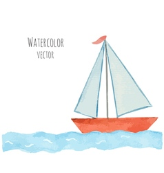 Watercolor boat with a flag on the blue waves vector