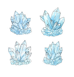 watercolor set group of quartz crystals in sketch vector image