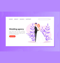 wedding agency landing pagetemplate wedding party vector image
