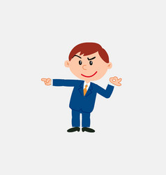 White businessman makes the ok gesture pointing vector