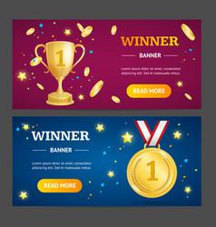 Winner banner horizontal set vector