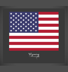 wyoming map with american national flag vector image