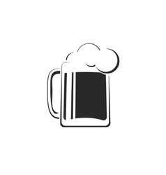 Black and white beer glass with foam icon vector image vector image