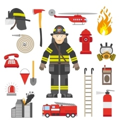 Fireman Professional Equipment Flat Icons vector image vector image