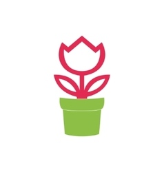 Flower in pot icon isolated on white background vector image vector image