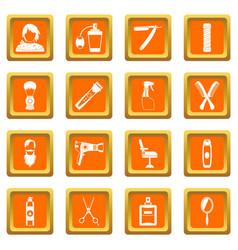 Hairdressing icons set orange vector