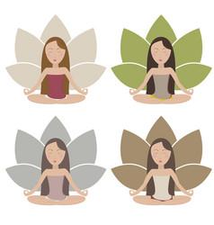 meditating girls vector image