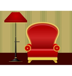 Red chair and floor lamp vector