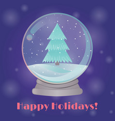 snow globe with a fir tree inside vector image vector image