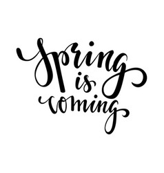 spring is coming hand drawn calligraphy and brush vector image vector image