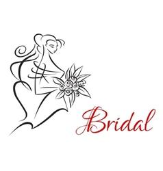 Bridal invitation template with pretty bride vector image