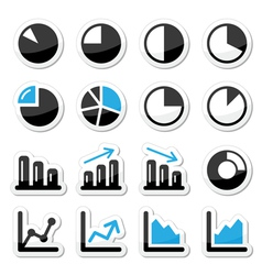 Chart graph black and blue icons as labels vector image