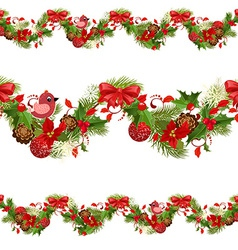 christmas set seamless borders for your design vector image