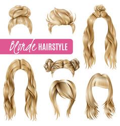 Coiffures for blond women set vector