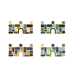 colorful stone fort vector image