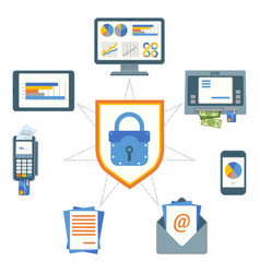 data security poster with elements on vector image