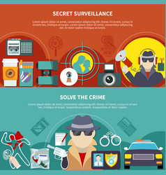 detective banner set vector image vector image