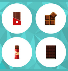 Flat icon cacao set of sweet cocoa chocolate and vector