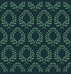 seamless pattern with laurel branches on a blue vector image vector image
