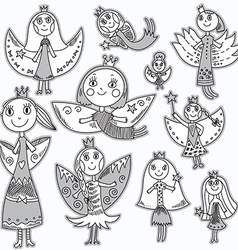 Set of cute lovely fairies in childrens drawing vector image