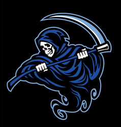 skull of grim reaper with the sickle vector image vector image