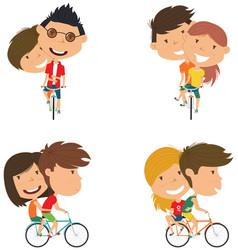 cute couple on bikes vector image