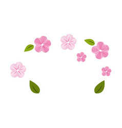 Cute flowers with leaves decoration vector