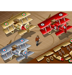 Isometric Old Vintage Biplanes in Rear View vector image vector image