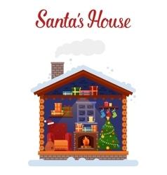 Santa claus home or house 2017 new year and xmas vector image