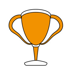 color silhouette with trophy cup vector image