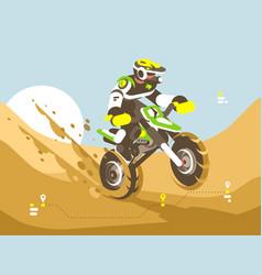 motorcyclist racing in desert vector image