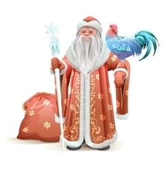 Russian Santa Claus holding blue rooster symbol of vector image vector image