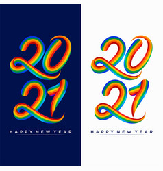 2021 happy new year colorful design template vector image
