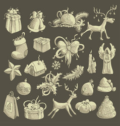 a large set of christmas tree decorations vector image