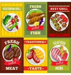 Barbecue Mini Posters Set vector image