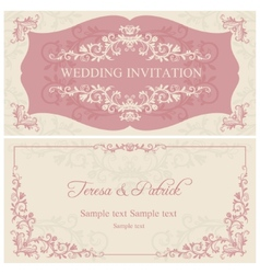 Baroque wedding invitation pink and beige vector
