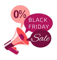 black friday sale banner with loudspeaker or vector image