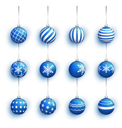 blue christmas ball set with snow effect stocking vector image