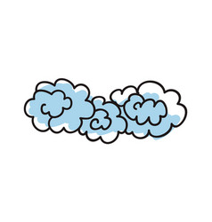 blue clouds hand drawn icon vector image