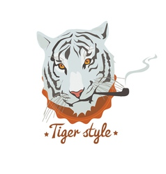 Blue smoking tiger vector