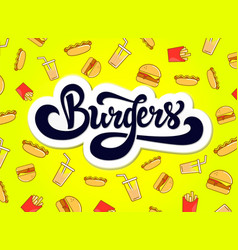 burgers logo design hand drawn logotype vector image