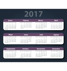 Calendar 2017 year design template in vector image