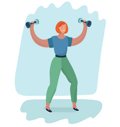 cartoon girl holding a dumbbell in her hand vector image