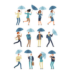 cartoon people with umbrella in rainy day man and vector image