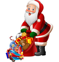 cartoon santa claus holding bag of presents vector image